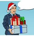 Pop Art Man in Santa Hat with Christmas Gifts vector image