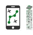 Route Smartphone Icon With Bonus vector image