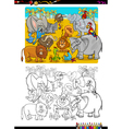 safari animals coloring book vector image vector image