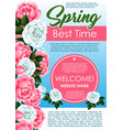 spring season floral poster with rose flowers vector image vector image