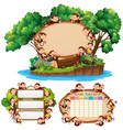 three board template with happy monkeys vector image vector image