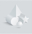 triangular and prism with sphere 3d vector image
