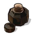 Vintage military flaska closeup with open lid vector image