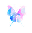 Watercolored butterfly in blue and pink colors