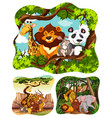 wild animals in forest vector image vector image