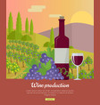 wine production banner poster for red vine vector image vector image