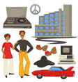 1970s fashion and architecture hippie style vector image vector image
