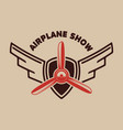 airplane show retro airplane propeller on winged vector image vector image