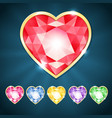 beautiful diamond hearts vector image vector image