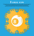 Billiards icon Floral flat design on a blue vector image