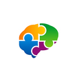 brain puzzle colorful logo vector image vector image