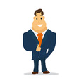 Businessman Cartoon Character in Blue Suit