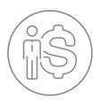 Businessman standing beside the dollar symbol line vector image