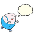 Cartoon humpty dumpty egg character with thought