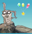 cartoon scary rabbit points to multicolored vector image vector image