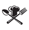 chef hat with spoon and fork vector image vector image