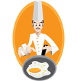 Chef is frying egg vector image vector image