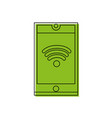 color smartphone technology with wifi connection vector image vector image