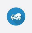 concrete mixer Flat Blue Simple Icon with long vector image vector image
