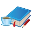 Cup coffee and book vector image