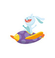 cute baby animal rabbit on airplane funny vector image vector image