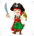 cute boy dressed as pirate with saber holding vector image vector image