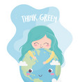 cute girl world think green environment ecology vector image