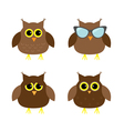 Cute owl set Big eyes sunglasses Icons on white vector image vector image