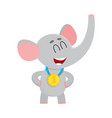 cute proud elephant character champion wearing vector image vector image