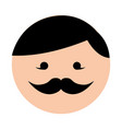 cute round moustache man face cartoon vector image
