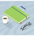 Desk with Note Book Glasses Pen and Cup of Coffee vector image vector image