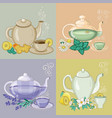 different herbal tea in cups and teapots vector image