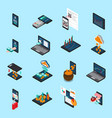 financial technology isometric icons vector image