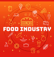 food industry concept different thin line icons vector image