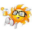 funny sun relaxing showing orange juice vector image