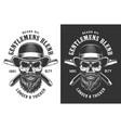gentleman skull in fedora hat emblem vector image vector image