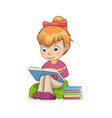 girl sitting and reading books vector image vector image