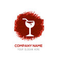 glass of juice icon - red watercolor circle splash vector image