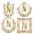 golden vintage monograms set heraldic logos n vector image vector image