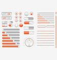 gray orange interface buttons sliders vector image vector image