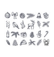 hand drawn christmas icons set a collection of vector image