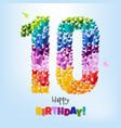 happy birthday card ten years vector image vector image