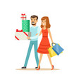 happy family couple walking with shopping bags and vector image