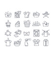 large set black and white laundry icons vector image