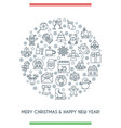 merry christmas thin line icons banner vector image vector image