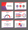 Purle red presentation templates Infographic set vector image