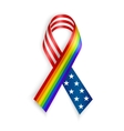 Rainbow and USA Ribbons Isolated on white with vector image vector image