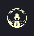rocket launch round icon rocket takeoff sign vector image vector image