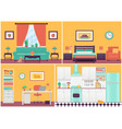 room interiors in flat design cartoon house vector image