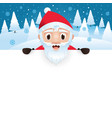 santa claus with blank big signboard vector image